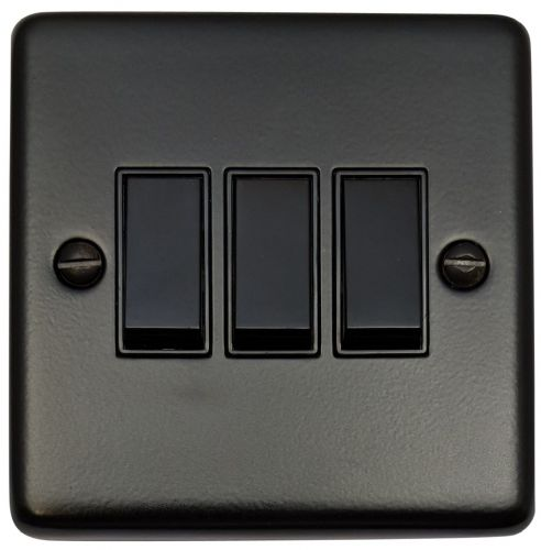 G&H CFB3B Standard Plate Matt Black 3 Gang 1 or 2 Way Rocker Light Switch